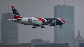 Patriots Plane lands in Boston with medical supplies