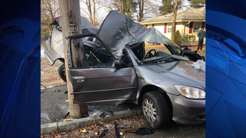A woman died Sunday, Dec. 22, 2019 following a single-vehicle car crash in Brockton, Massachusetts.