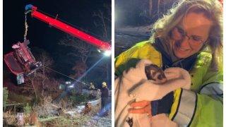 A woman was hospitalized following a rollover car crash on Thursday, Dec. 5, 2019 in Wareham, Massachusetts.
