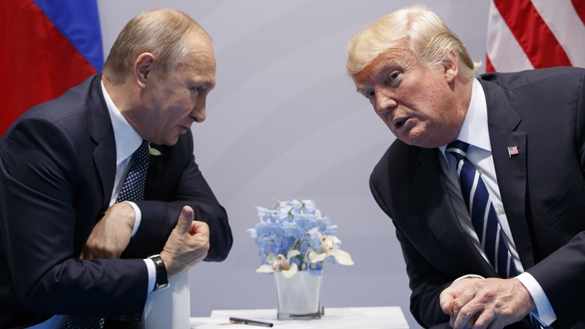President Donald Trump meets with Russian President Vladimir Putin at the G20 Summit, Friday, July 7, 2017, in Hamburg.