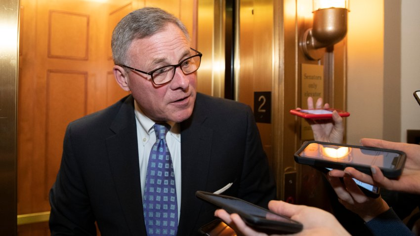 In this Feb. 4, 2020, file photo, Sen. Richard Burr, R-N.C., speaks with reporters on Capitol Hill in Washington.