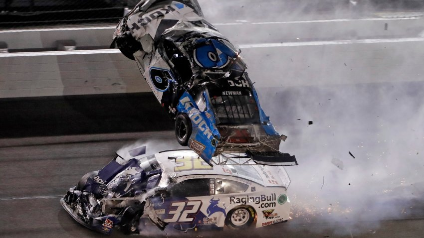 Ryan Newman (6) goes airborne after crashing with Corey LaJoie (32) during the NASCAR Daytona 500 auto race Monday, Feb. 17, 2020, at Daytona International Speedway in Daytona Beach, Florida. A statement from NASCAR said Newman's injuries, although serious, was not life threatening.