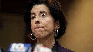 Rhode Island Gov. Gina Raimondo take questions during a news conference on the novel coronavirus, March 1, 2020, in Providence, Rhode Island.