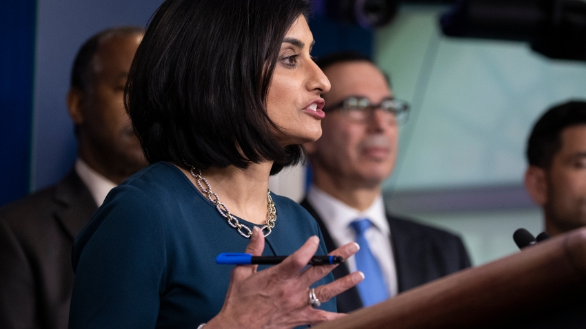 Administrator of the Centers for Medicare and Medicaid Services Seema Verma, speaks during a news conference about the coronavirus in the James Brady Briefing Room at the White House, Saturday, March 14, 2020, in Washington.