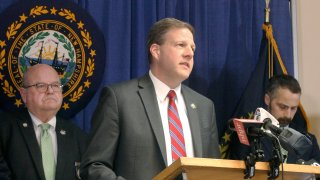 New Hampshire Gov. Chris Sununu announces a series of emergency orders, March 17, 2020, in Concord, N.H., in response to the coronavirus pandemic.