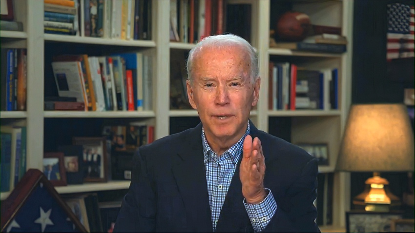 In this March 25, 2020, file photo from video provided by the Biden for President campaign, Democratic presidential candidate and former Vice President Joe Biden speaks during a virtual press briefing.