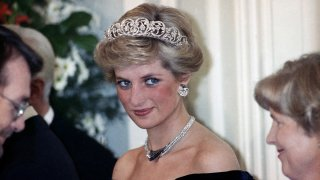 In this Nov. 2, 1987, file photo, the Princess of Wales is pictured during an evening reception given by the West German President Richard von Weizsacker in honour of the British Royal guests in the Godesberg Redoute in Bonn, Germany.