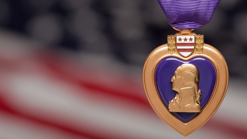 Purple Heart Against Americal Flag