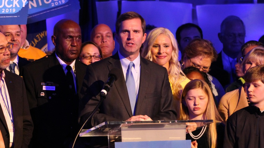 In this Nov. 5, 2019, file photo, apparent Gov.-elect Andy Beshear celebrates with supporters after voting results showed the Democrat holding a slim lead over Republican Gov. Matt Bevin at C2 Event Venue in Louisville, Kentucky.