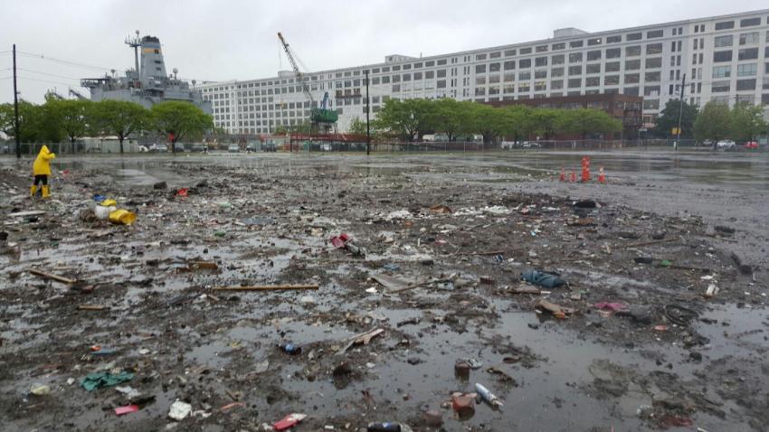 Boston snow trash pile June 2 2