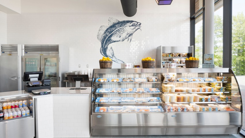 The takeout counter at Legal Sea Foods' Chestnut Hill location