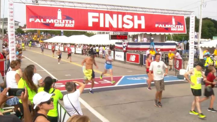 Falmouth Road Race 2019 people cross finish line