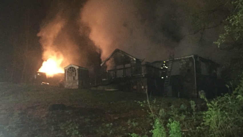 Fire on Downs Road in Monroe 1200