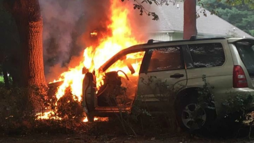 Firey crash in Branford