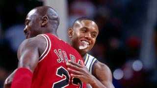 NBA players Michael Jordan and B.J. Armstrong
