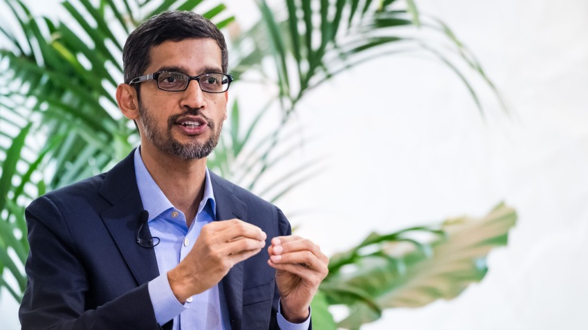 Sundar Pichai, chief executive officer of Alphabet Inc., gestures while speaking during a discussion on artificial intelligence at the Bruegel European economic think tank in Brussels, Belgium, on Monday, Jan. 20, 2020. Pichai urged the U.S. and European Union to coordinate regulatory approaches on artificial intelligence, calling their alignment critical.