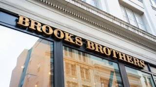 American men's clothier chain Brooks Brothers store and logo seen at one of their stores.