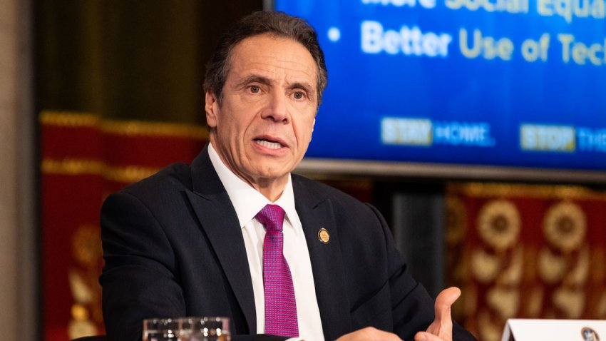In this file photo, New York Governor Andrew Cuomo (D) speaks during a press Conference at the State Capitol.