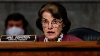 U.S. Sen. Dianne Feinstein (D-CA) participates in a Senate Judiciary Committee hearing examining liability during the coronavirus disease (COVID-19) outbreak May 12, 2020 on Capitol Hill in Washington, DC.