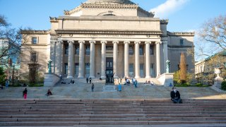 The view of the Columbia University Alma Mater statue and steps amid the COVID-19 pandemic on April 28, 2020 in New York City, United States. Normally, this area would be filled with students taking their graduation photos. COVID-19 has spread to most countries around the world, claiming over 213,000 lives with over 3 million cases.