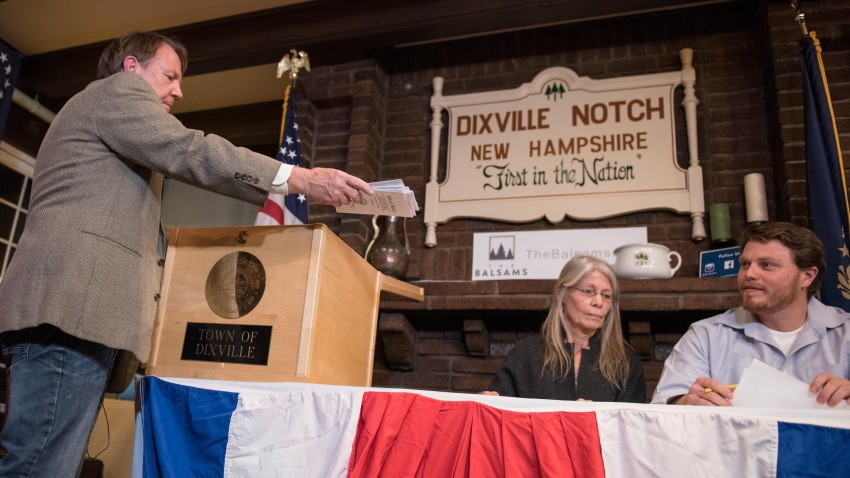 In this Nov. 8, 2016, file photo, clerks tabulate ballots just after midnight at a polling station in Dixville Notch, New Hampshire, the first voting to take place in the 2016 U.S. presidential election.