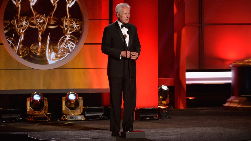 Alex Trebek speaks at the 44th annual Daytime Emmy Awards in 2017