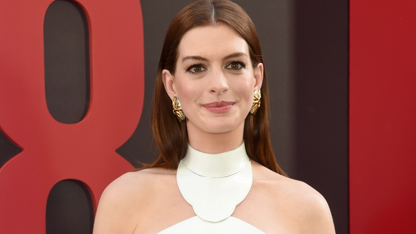 "In this June 5, 2018, file photo, Anne Hathaway attends the ""Ocean's 8"" World Premiere at Alice Tully Hall in New York City."