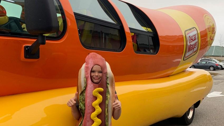 Jake Arsenault with Oscar Mayer Wienermobile