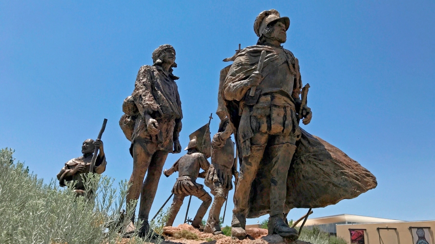 This bronze statue of Don Juan de Oñate leading a group of Spanish settlers from an area near what is now Ciudad Chihuahua, Mexico, to what was then the northern most province of New Spain in 1598 stands outside the Albuquerque Museum in Albuquerque, N.M., on Friday, June 12, 2020.