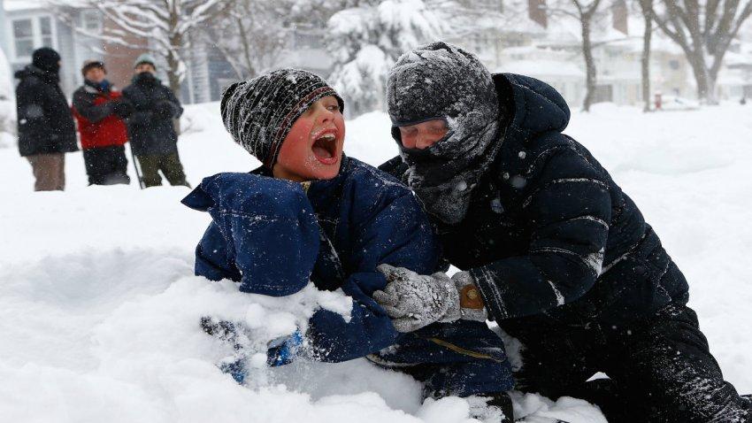 Kids in Snow in Boston