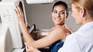 Female Undergoing Mammogram X-ray Test