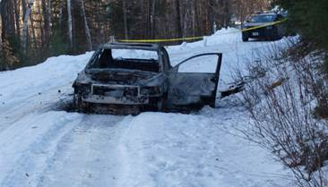 NH State Police Stark body burned out car