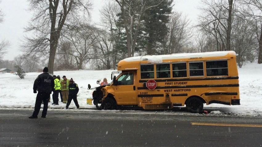 North Main Street west hartford school bus crash