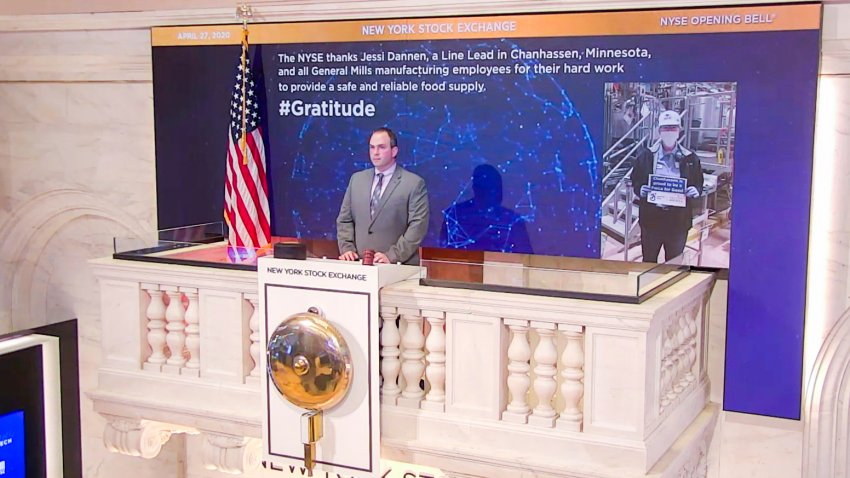 On behalf of The New York Stock Exchange, Tommy Gannon, Assistant Supervisor, Facilities rings The Opening Bell on April 27, 2020, in New York.
