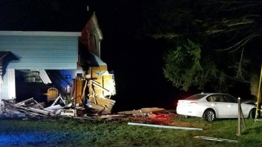 West Brookfield Car Into House