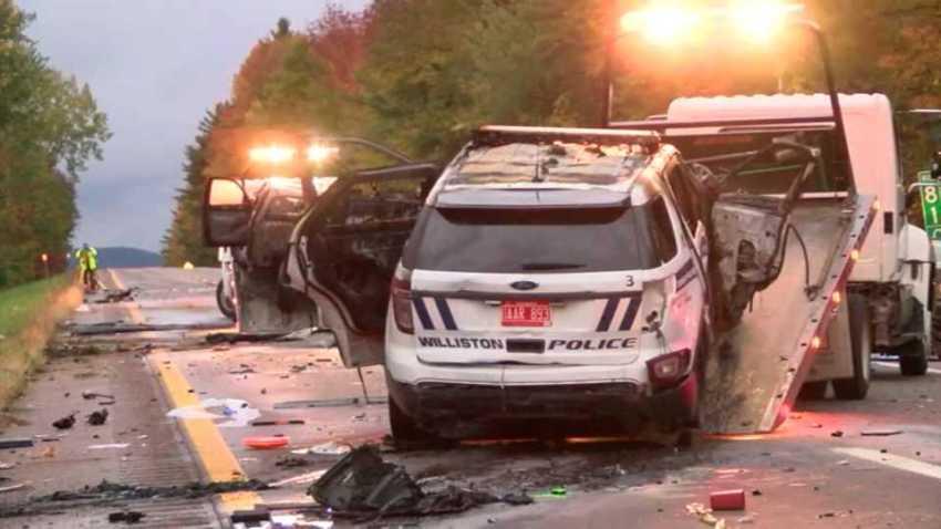 Williston VT police cruiser fire scene