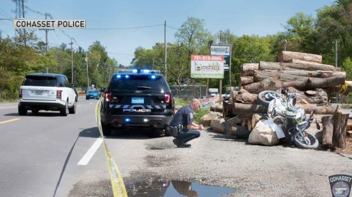 cohasset motorcycle crash into wood pile