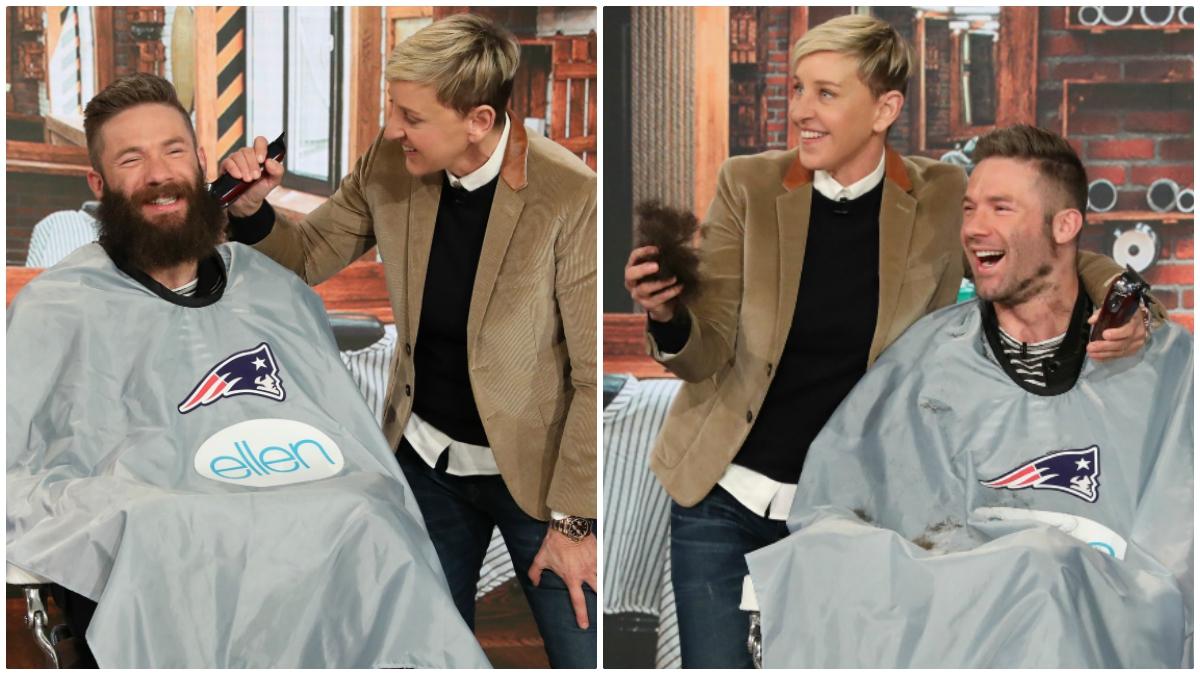 Julian Edelman Shaves Off Beard For Charity On Ellen Show