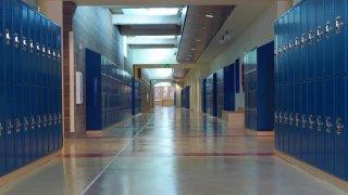 Empty hallway, high school