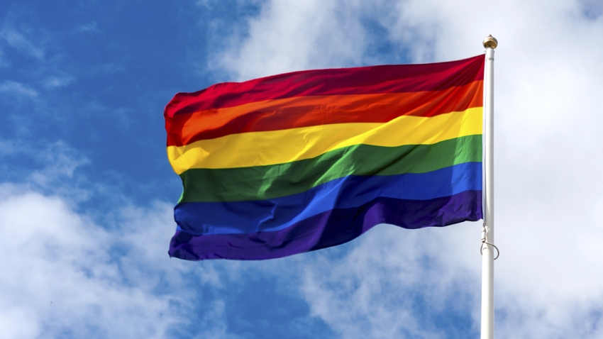 A rainbow flag on a pole, flapping in the wind.