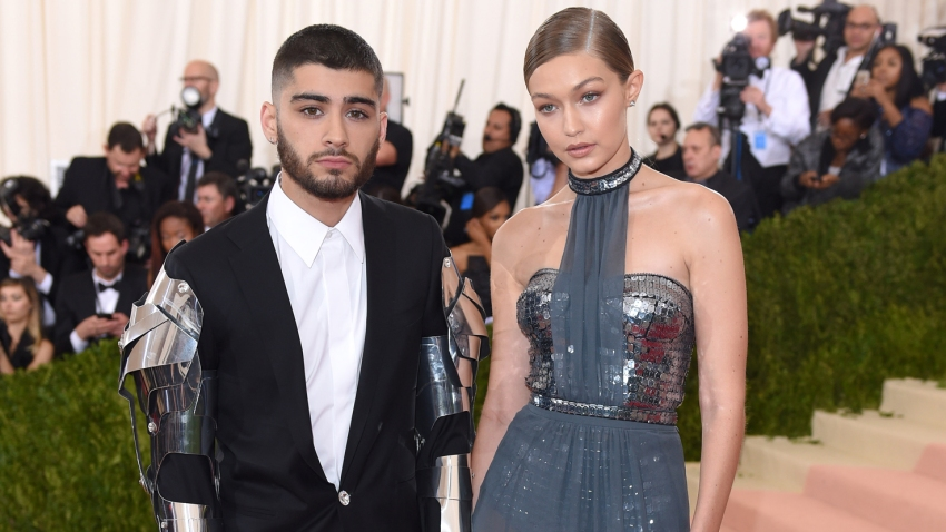 "In this file photo, Gigi Hadid and Zayn Malik arrive for the ""Manus x Machina: Fashion In An Age Of Technology"" Costume Institute Gala at Metropolitan Museum of Art on May 2, 2016 in New York City."