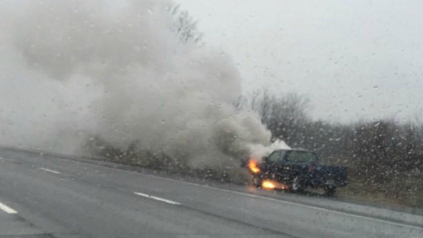 pickup on I91 on fire 1200