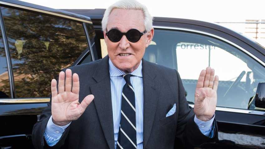 In this file photo, Roger Stone arrives at Federal Court for the second day of jury selection for his federal trial, in Washington, Wednesday, Nov. 6, 2019.