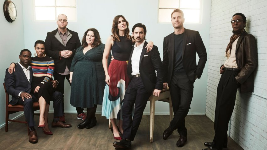 """In this Jan. 18, 2017, file photo, actors Sterling K. Brown, Susan Kelechi Watson, Chris Sullivan, Chrissy Metz, Mandy Moore, Milo Ventimiglia, Justin Hartley and Ron Cephas Jones of """"This Is Us"""" pose for a portrait in the NBCUniversal Press Tour portrait studio at The Langham Huntington, Pasadena in Pasadena, California."""