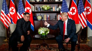 After their initial handshake, President Donald Trump met with North Korean leader Kim Jong Un for a one-on-one meeting, then held bilateral talks between officials from both governments on Tuesday, June 12, 2018, in Singapore.
