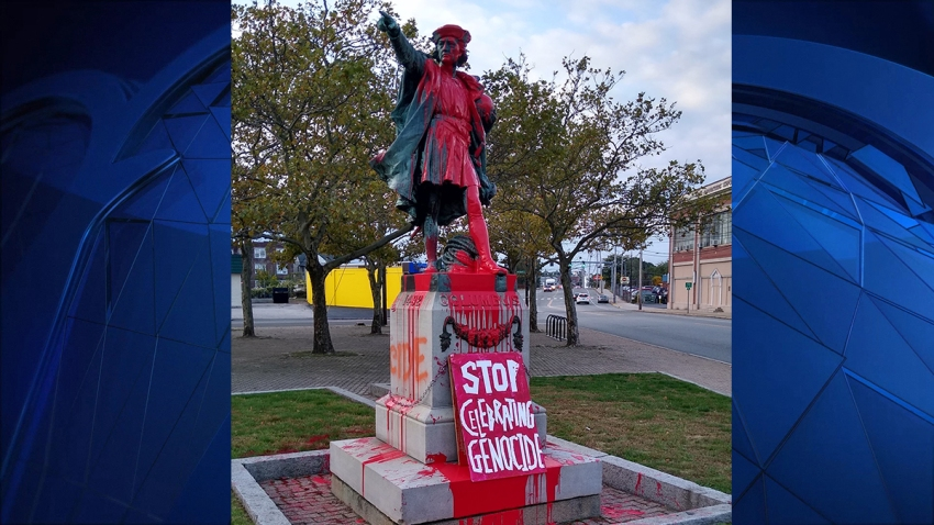 vandalized christopher columbus statue providence RI