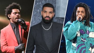 The Weeknd (left), Drake (middle) and J. Cole (right).