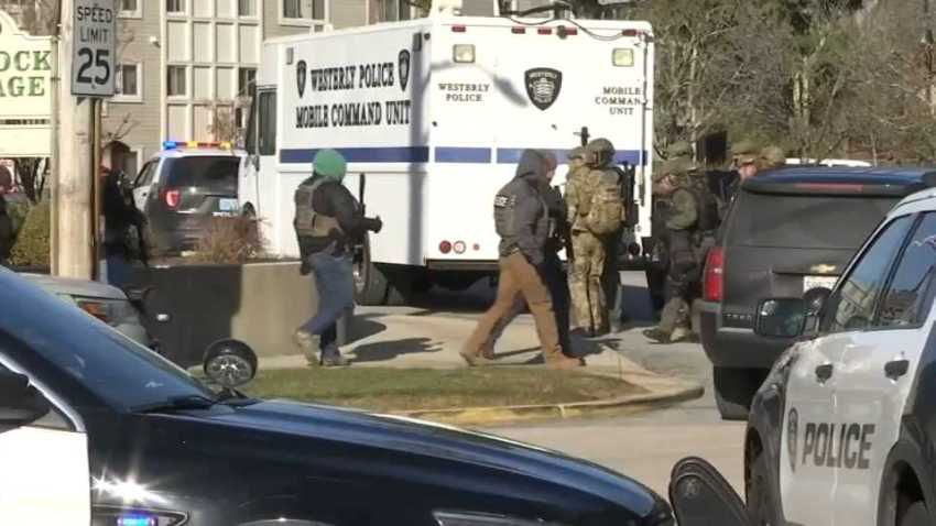 Authorities sweep a retirement facility in search for a gunman on Thursday, Dec. 19, 2019 in Westerly, Rhode Island.