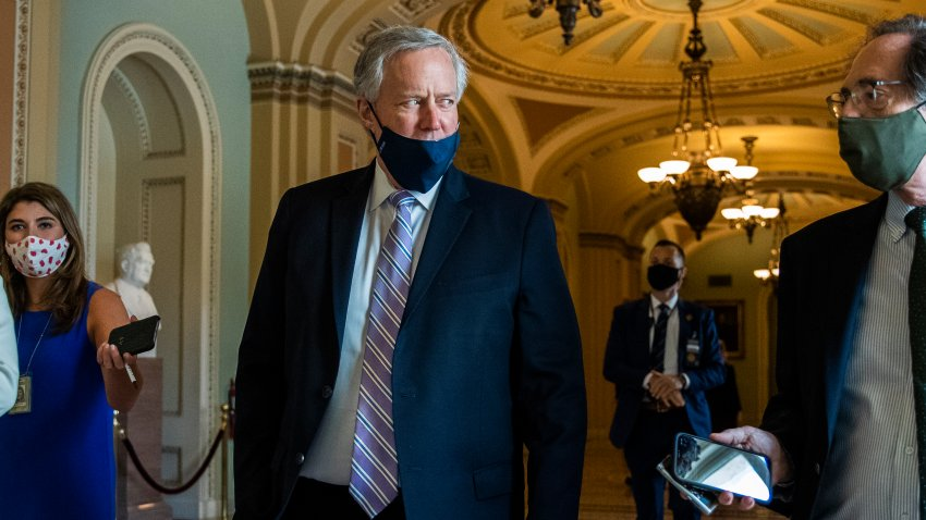 In this July 23, 2020, file photo, White House chief of staff Mark Meadows speaks to reporters at the Capitol in Washington.