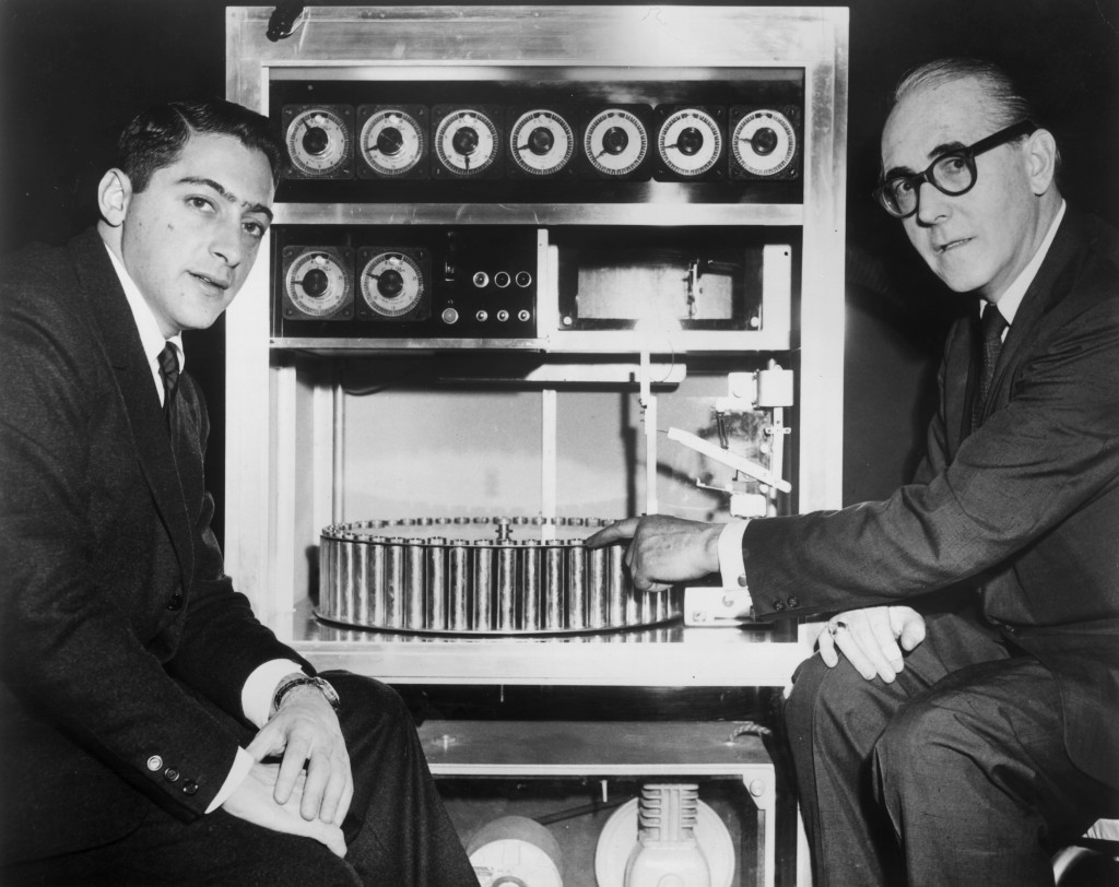 Smell-O-Vision machine and it's inventor, Hans Laube